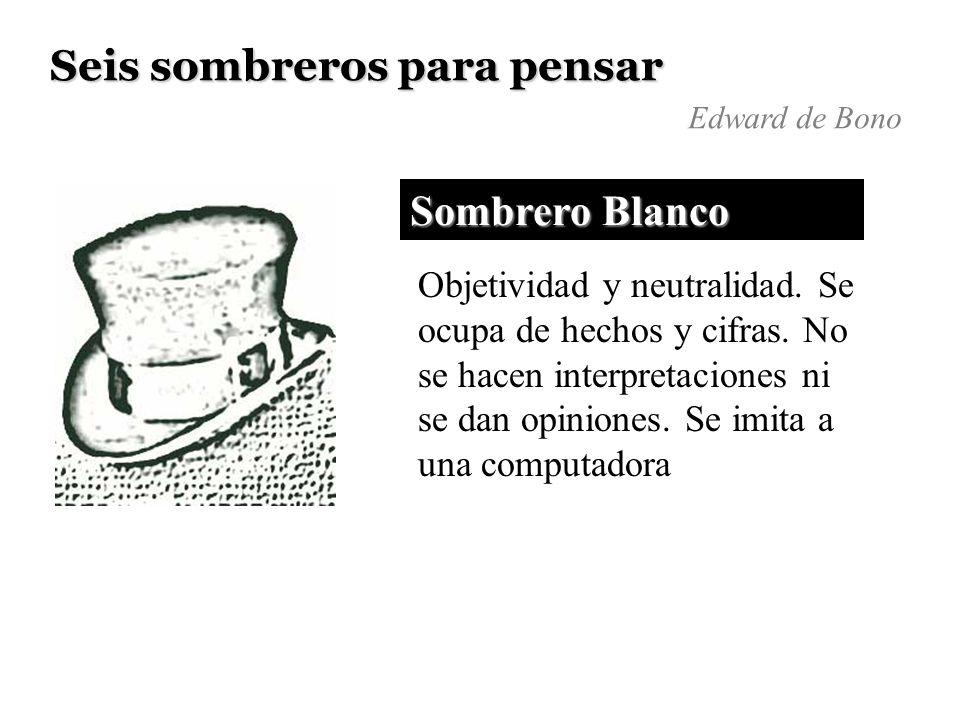Seis sombreros para pensar Edward de Bono Sombrero Blanco Objetividad y neutralidad. Se ocupa de hechos y cifras. No se hacen interpretaciones ni se d