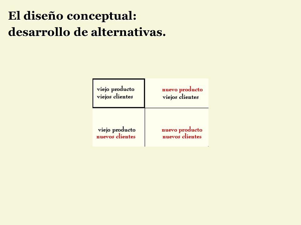 El diseño conceptual: desarrollo de alternativas.