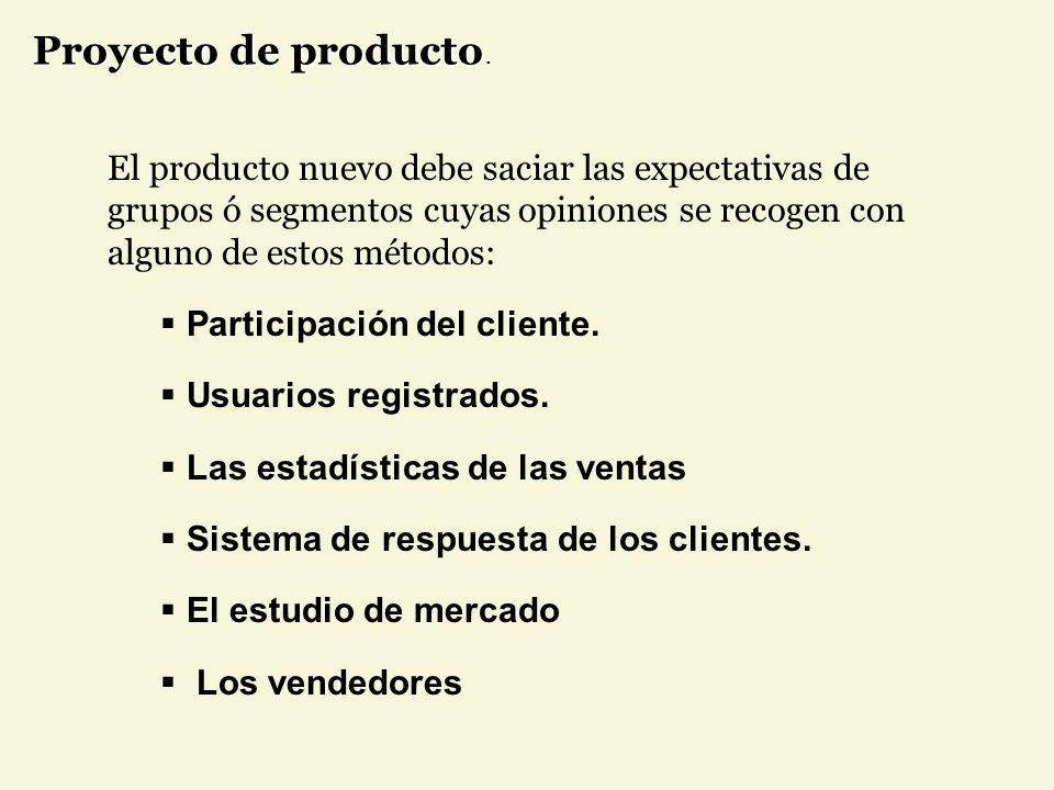 El producto nuevo debe saciar las expectativas de grupos ó segmentos cuyas opiniones se recogen con alguno de estos métodos: Participación del cliente.