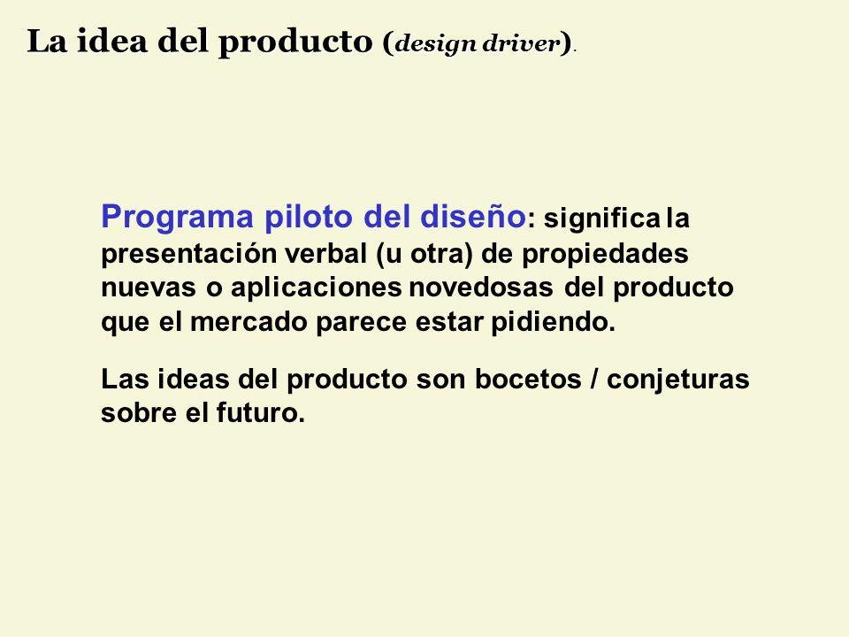 Programa piloto del diseño : significa la presentación verbal (u otra) de propiedades nuevas o aplicaciones novedosas del producto que el mercado parece estar pidiendo.