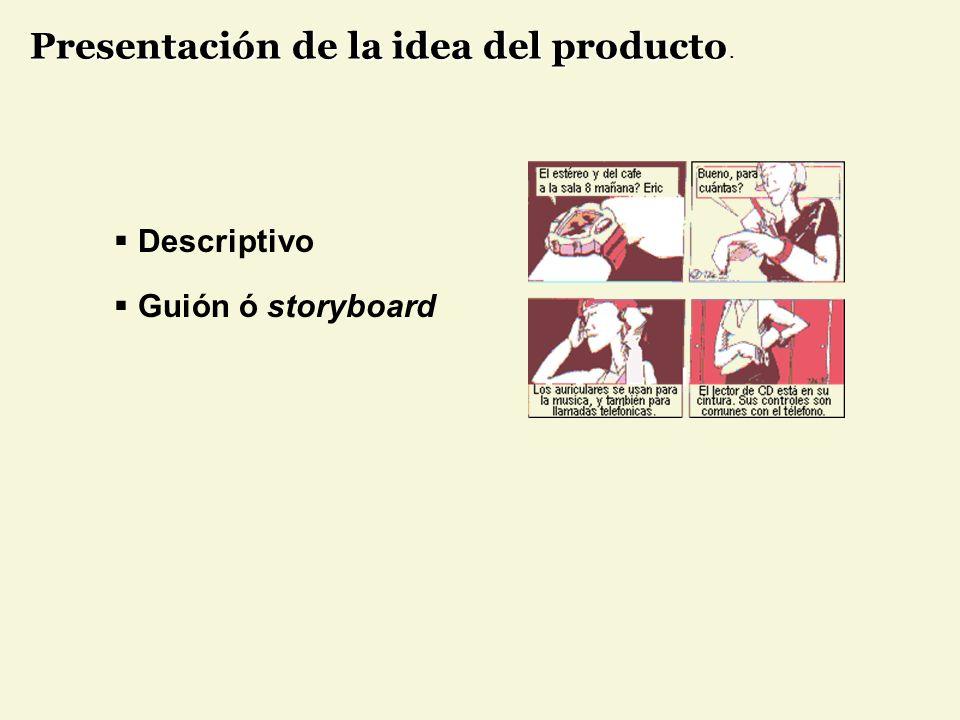 Descriptivo Guión ó storyboard Presentación de la idea del producto.