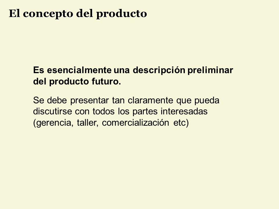 Es esencialmente una descripción preliminar del producto futuro.