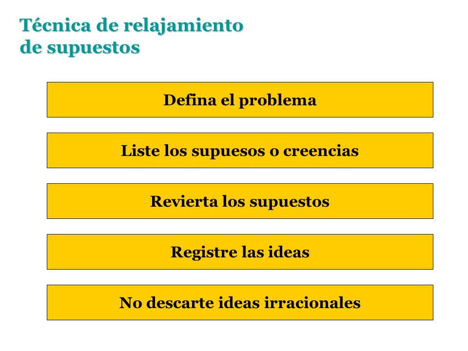 Técnica de relajamiento de supuestos Defina el problema Liste los supuesos o creencias Revierta los supuestos Registre las ideas No descarte ideas irracionales