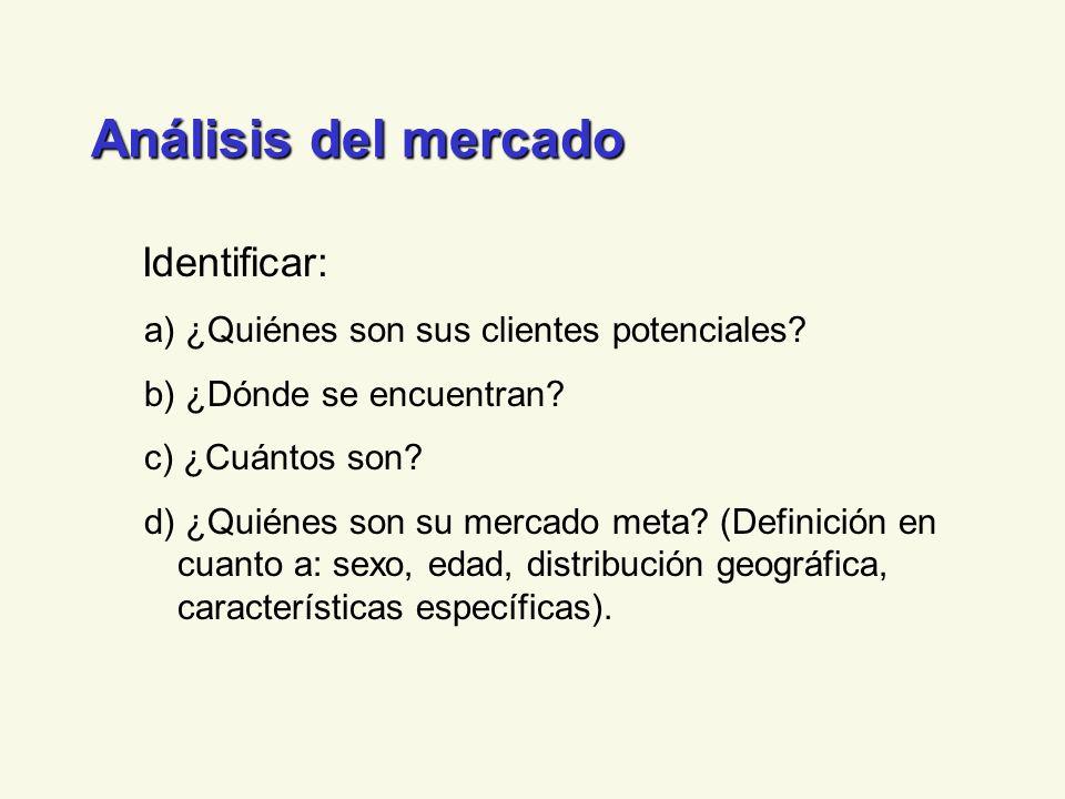 Análisis del mercado Identificar: a) ¿Quiénes son sus clientes potenciales.
