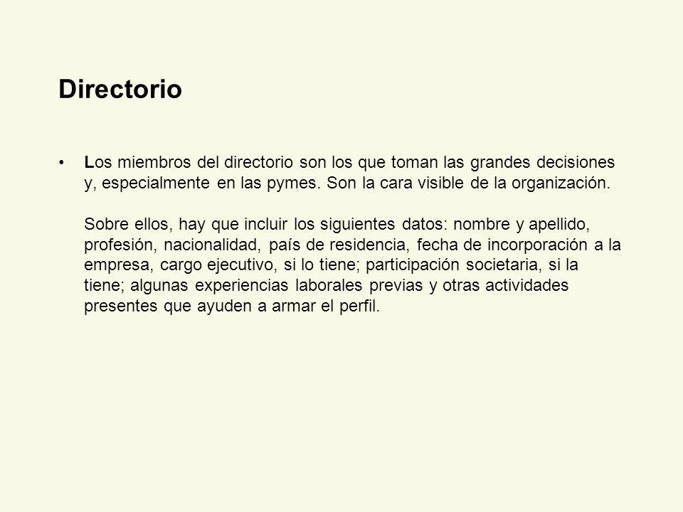 Directorio Los miembros del directorio son los que toman las grandes decisiones y, especialmente en las pymes. Son la cara visible de la organización.