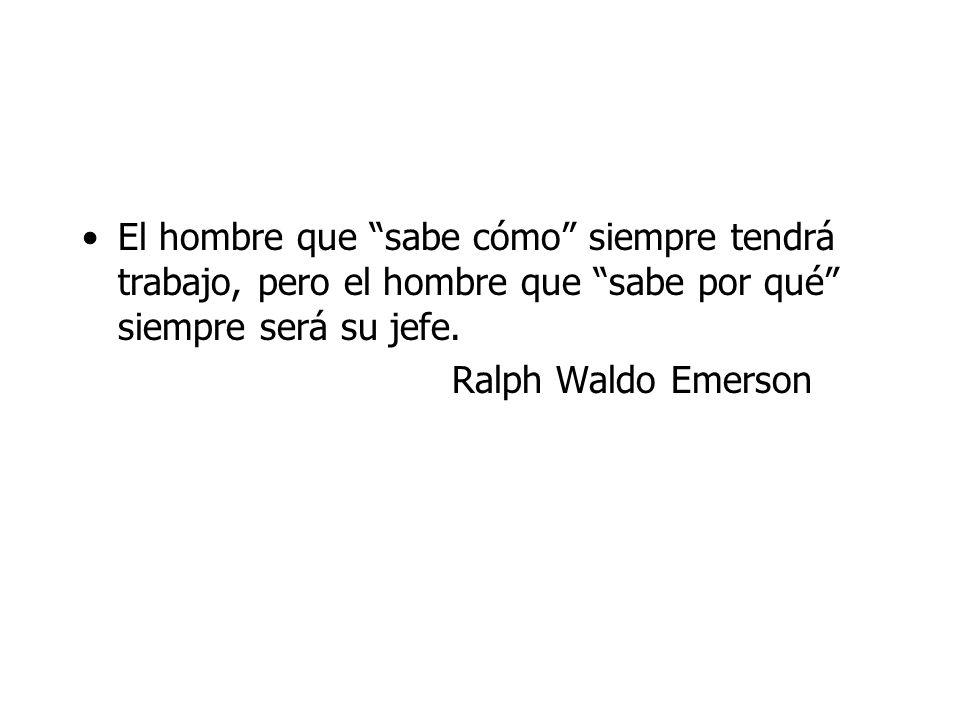 El hombre que sabe cómo siempre tendrá trabajo, pero el hombre que sabe por qué siempre será su jefe. Ralph Waldo Emerson