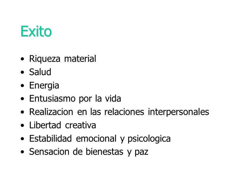 Exito Riqueza material Salud Energia Entusiasmo por la vida Realizacion en las relaciones interpersonales Libertad creativa Estabilidad emocional y ps