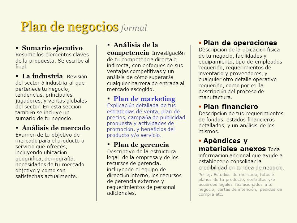 Plan de negocios Plan de negocios real Sumario ejecutivo : destaca los puntos más saltantes del plan de negocios y ventas.