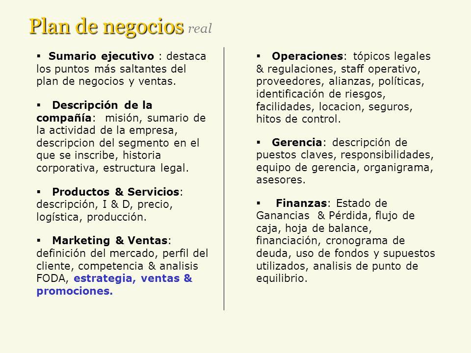 Plan de negocios Plan de negocios real Sumario ejecutivo : destaca los puntos más saltantes del plan de negocios y ventas. Descripción de la compañía: