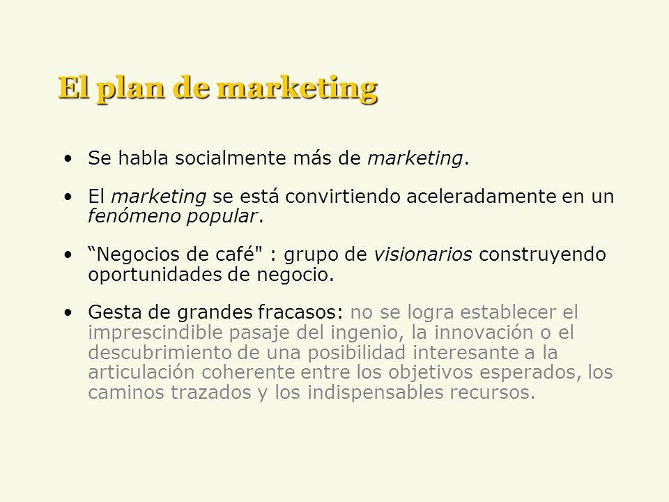 El plan de marketing Se habla socialmente más de marketing. El marketing se está convirtiendo aceleradamente en un fenómeno popular. Negocios de café