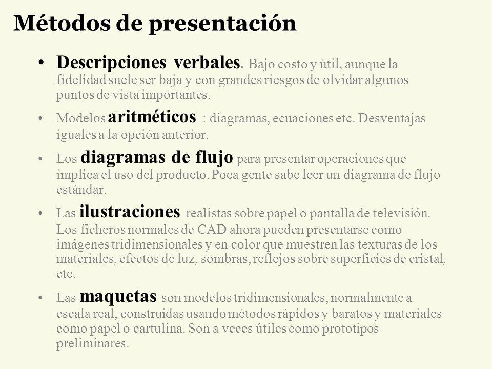 Métodos de presentación Descripciones verbales. Bajo costo y útil, aunque la fidelidad suele ser baja y con grandes riesgos de olvidar algunos puntos