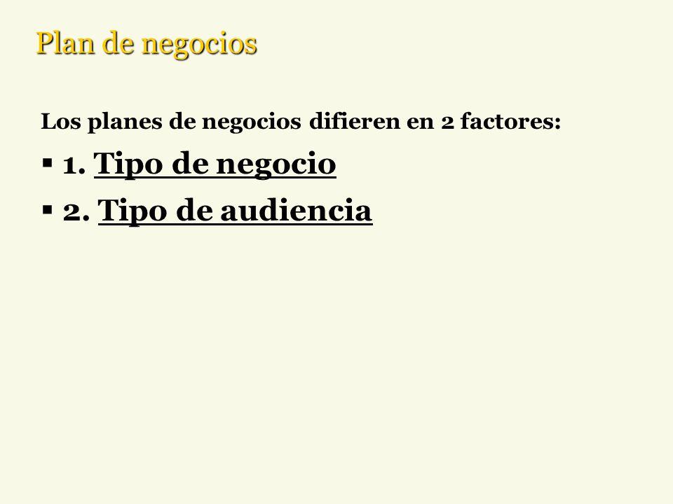 Plan de negocios Los planes de negocios difieren en 2 factores: 1. Tipo de negocio 2. Tipo de audiencia