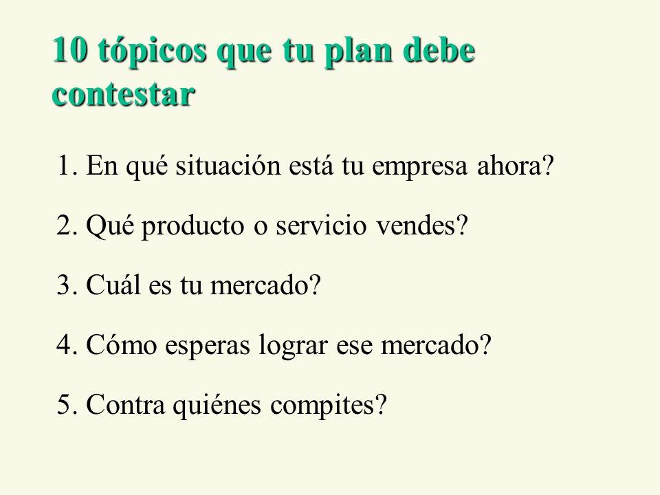 10 tópicos que tu plan debe contestar 1. En qué situación está tu empresa ahora? 2. Qué producto o servicio vendes? 3. Cuál es tu mercado? 4. Cómo esp