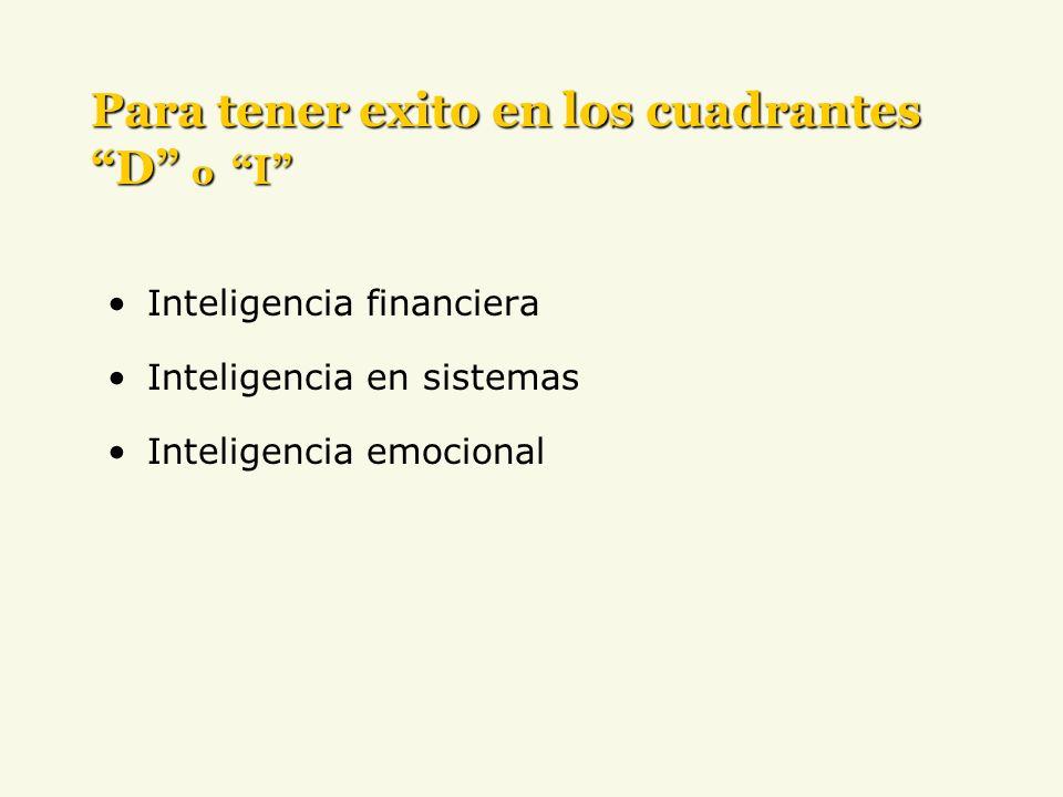 Inteligencia financiera Inteligencia en sistemas Inteligencia emocional Para tener exito en los cuadrantes D o I