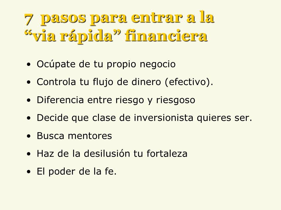 Ocúpate de tu propio negocio Controla tu flujo de dinero (efectivo). Diferencia entre riesgo y riesgoso Decide que clase de inversionista quieres ser.