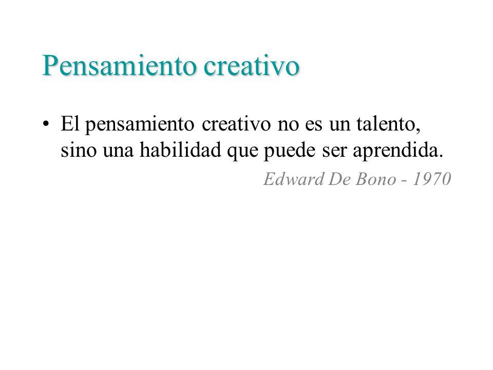 Pensamiento creativo El pensamiento creativo no es un talento, sino una habilidad que puede ser aprendida. Edward De Bono - 1970