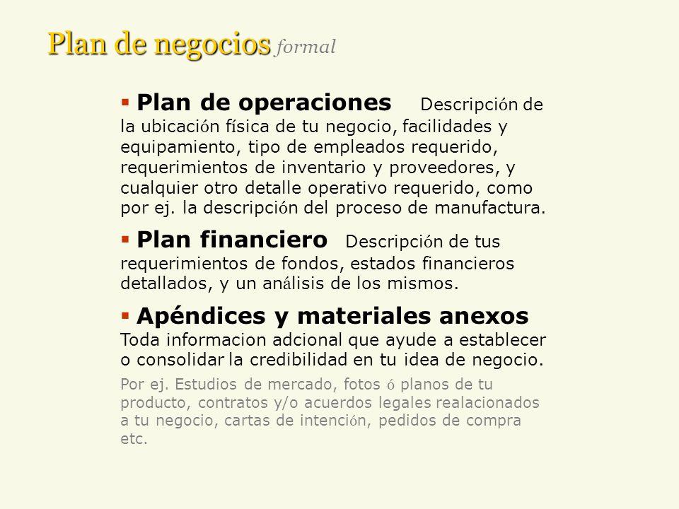 Plan de negocios Plan de negocios formal Plan de operaciones Descripci ó n de la ubicaci ó n f í sica de tu negocio, facilidades y equipamiento, tipo