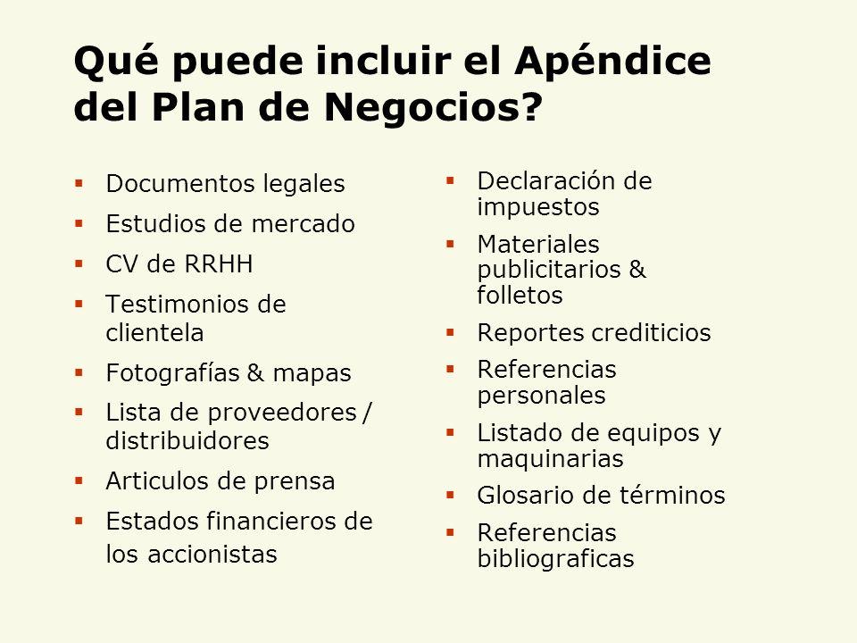 Qué puede incluir el Apéndice del Plan de Negocios? Documentos legales Estudios de mercado CV de RRHH Testimonios de clientela Fotografías & mapas Lis