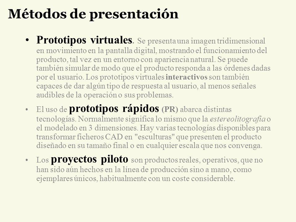 Métodos de presentación Prototipos virtuales. Se presenta una imagen tridimensional en movimiento en la pantalla digital, mostrando el funcionamiento