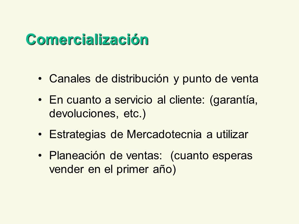 Comercialización Canales de distribución y punto de venta En cuanto a servicio al cliente: (garantía, devoluciones, etc.) Estrategias de Mercadotecnia