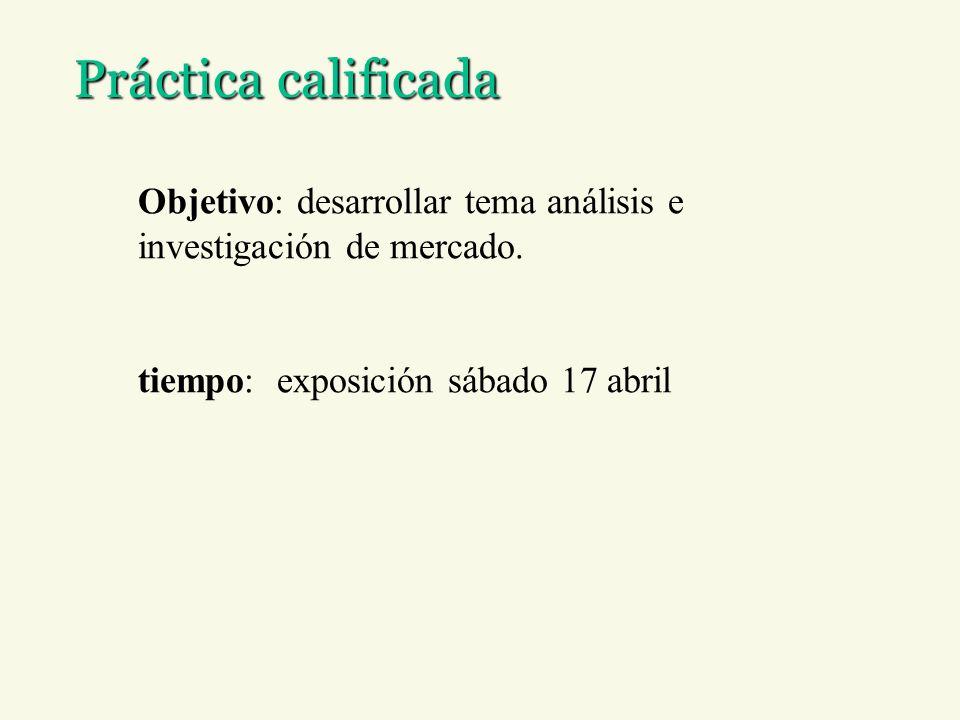 Práctica calificada Objetivo: desarrollar tema análisis e investigación de mercado. tiempo: exposición sábado 17 abril