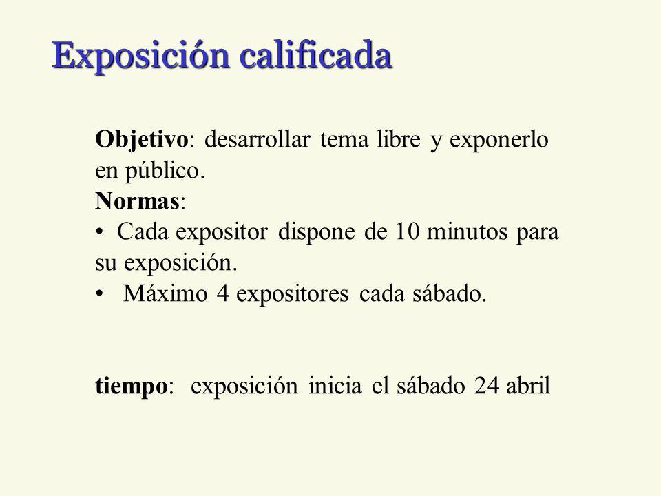 Exposición calificada Objetivo: desarrollar tema libre y exponerlo en público. Normas: Cada expositor dispone de 10 minutos para su exposición. Máximo