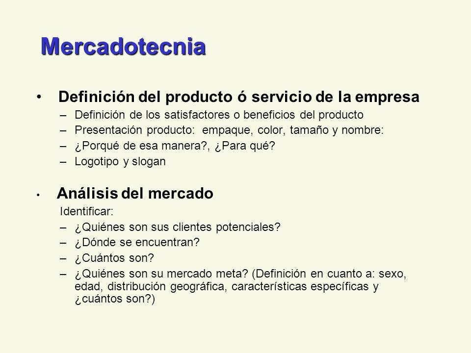 Mercadotecnia Definición del producto ó servicio de la empresa –Definición de los satisfactores o beneficios del producto –Presentación producto: empa