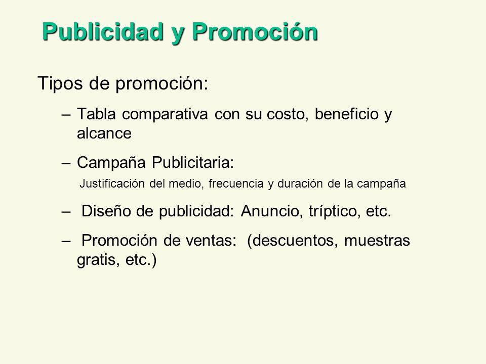 Publicidad y Promoción Tipos de promoción: –Tabla comparativa con su costo, beneficio y alcance –Campaña Publicitaria: Justificación del medio, frecue