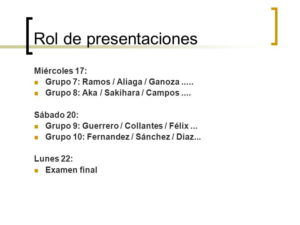 Rol de presentaciones Miércoles 17: Grupo 7: Ramos / Aliaga / Ganoza.....