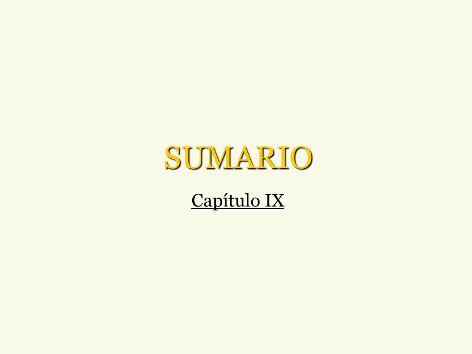 SUMARIO Capítulo IX
