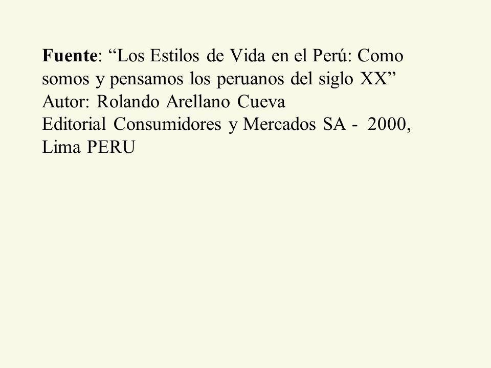 Fuente: Los Estilos de Vida en el Perú: Como somos y pensamos los peruanos del siglo XX Autor: Rolando Arellano Cueva Editorial Consumidores y Mercado