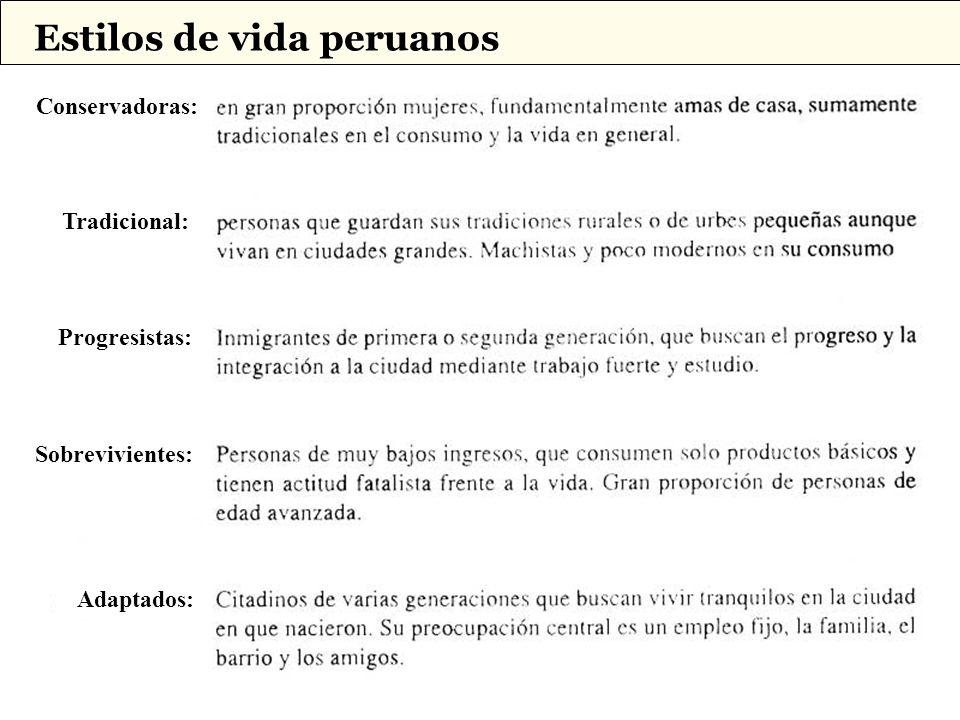 Tradicional: Conservadoras: Progresistas: Sobrevivientes: Adaptados: Estilos de vida peruanos