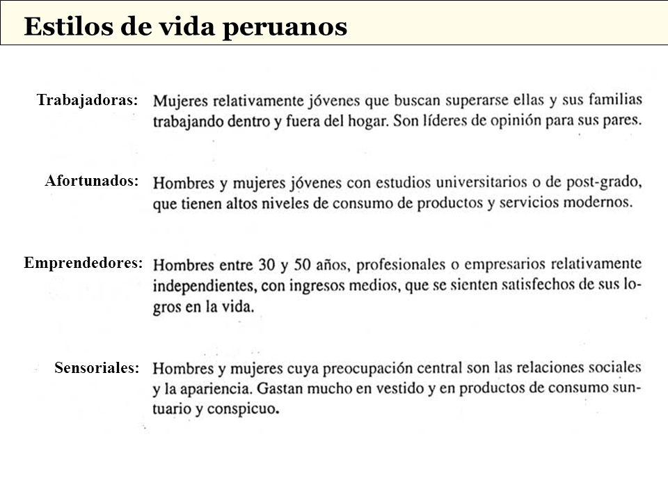 Afortunados: Trabajadoras: Emprendedores: Sensoriales: Estilos de vida peruanos