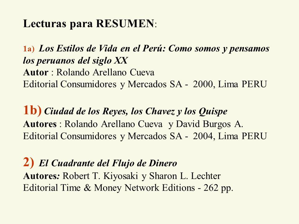 Lecturas para RESUMEN : 1a) Los Estilos de Vida en el Perú: Como somos y pensamos los peruanos del siglo XX Autor : Rolando Arellano Cueva Editorial C