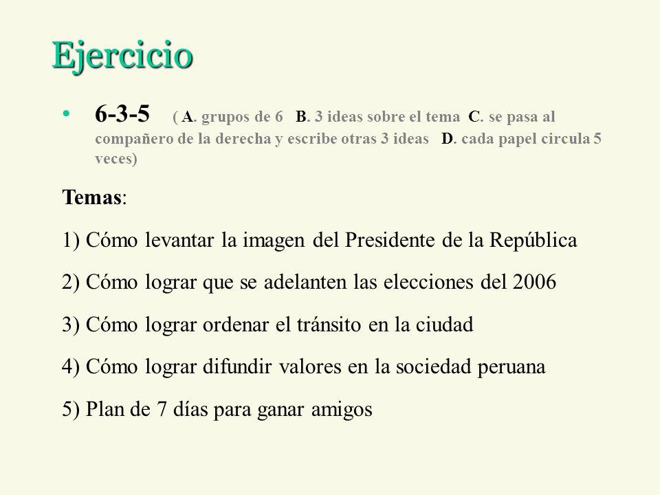 Ejercicio 6-3-5 ( A. grupos de 6 B. 3 ideas sobre el tema C. se pasa al compañero de la derecha y escribe otras 3 ideas D. cada papel circula 5 veces)