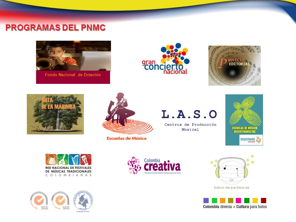 PROGRAMAS DEL PNMC PROGRAMAS DEL PNMC Fondo Nacional de Dotación L.A.S.O Centros de Producción Musical
