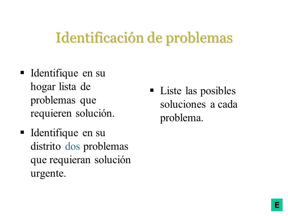 E Identificación de problemas Identifique en su hogar lista de problemas que requieren solución. Identifique en su distrito dos problemas que requiera