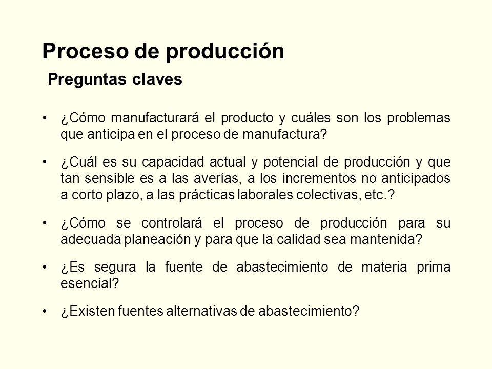 Proceso de producción Preguntas claves ¿Cómo manufacturará el producto y cuáles son los problemas que anticipa en el proceso de manufactura? ¿Cuál es