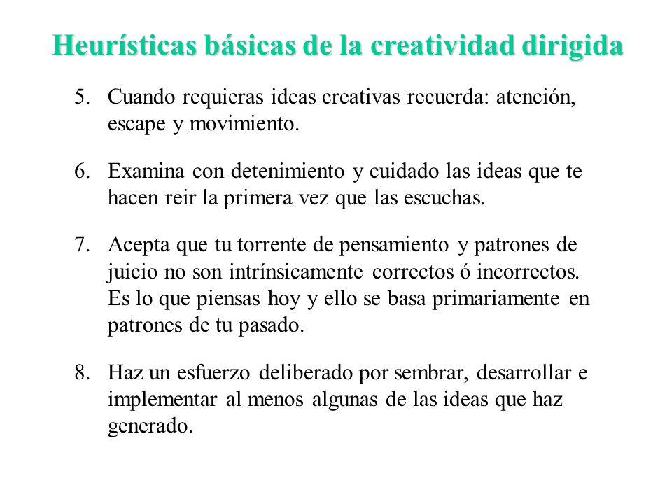 Heurísticas básicas de la creatividad dirigida 5.Cuando requieras ideas creativas recuerda: atención, escape y movimiento. 6.Examina con detenimiento