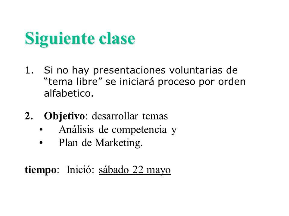 Siguiente clase 1.Si no hay presentaciones voluntarias de tema libre se iniciará proceso por orden alfabetico. 2.Objetivo: desarrollar temas Análisis