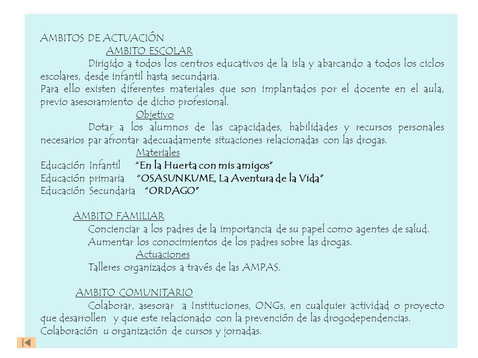 AMBITOS DE ACTUACIÓN AMBITO ESCOLAR Dirigido a todos los centros educativos de la isla y abarcando a todos los ciclos escolares, desde infantil hasta
