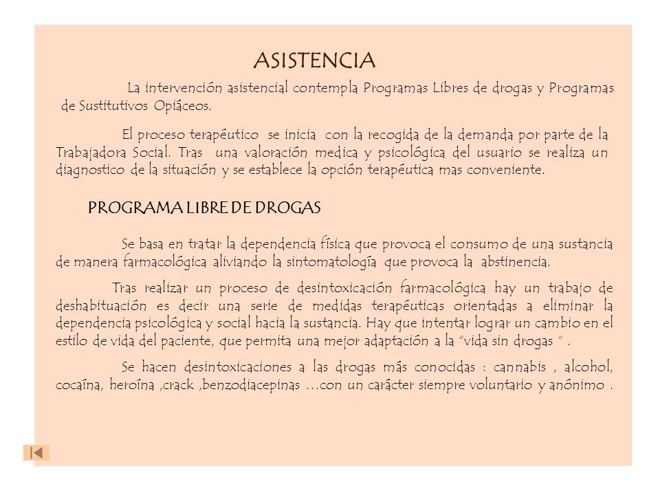 ASISTENCIA La intervención asistencial contempla Programas Libres de drogas y Programas de Sustitutivos Opiáceos. PROGRAMA LIBRE DE DROGAS El proceso