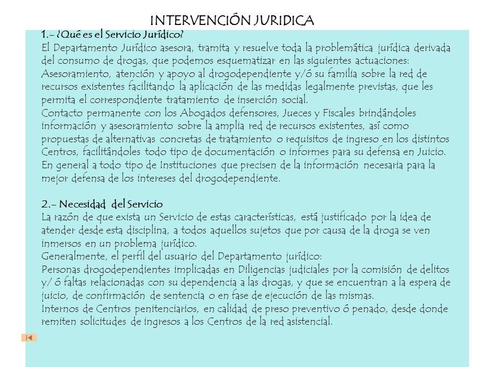 INTERVENCIÓN JURIDICA 1.- ¿Qué es el Servicio Jurídico? El Departamento Jurídico asesora, tramita y resuelve toda la problemática jurídica derivada de