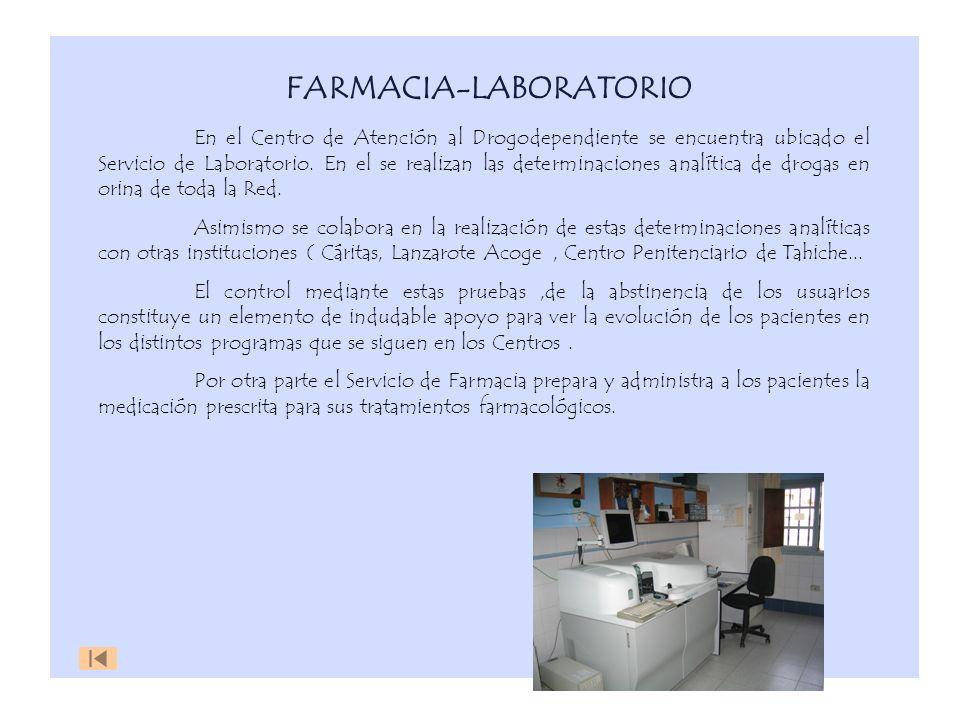 FARMACIA-LABORATORIO En el Centro de Atención al Drogodependiente se encuentra ubicado el Servicio de Laboratorio. En el se realizan las determinacion