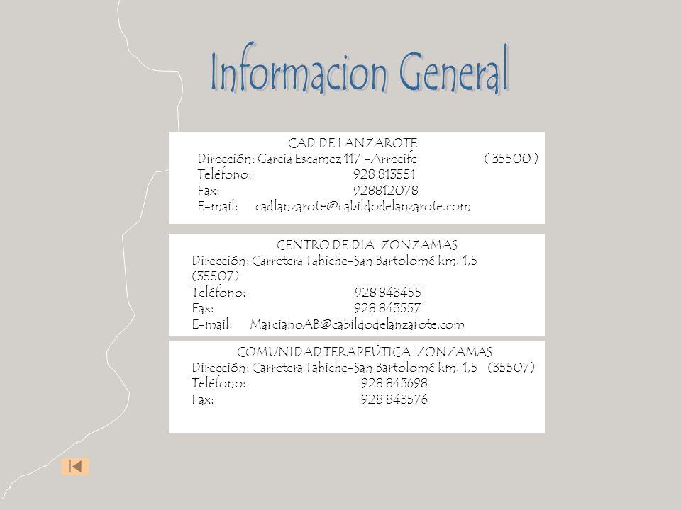 CENTRO DE DIA ZONZAMAS Dirección: Carretera Tahiche-San Bartolomé km. 1,5 (35507) Teléfono: 928 843455 Fax: 928 843557 E-mail: MarcianoAB@cabildodelan