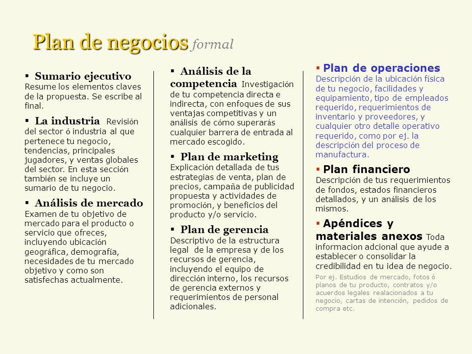 Plan de negocios Plan de negocios formal Sumario ejecutivo Resume los elementos claves de la propuesta. Se escribe al final. La industria Revisi ó n d