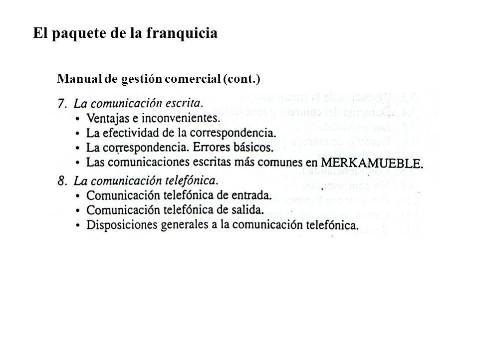 El paquete de la franquicia Manual de gestión comercial (cont.)