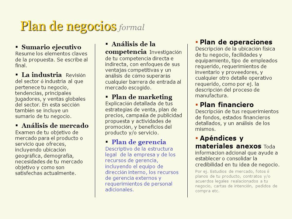 Plan de gerencia Describe: la estructura legal de la empresa los recursos de gerencia: el equipo de direcci ó n interno, los recursos de gerencia externos y requerimientos de personal adicionales.