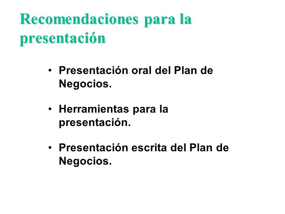 Recomendaciones para la presentación Presentación oral del Plan de Negocios. Herramientas para la presentación. Presentación escrita del Plan de Negoc