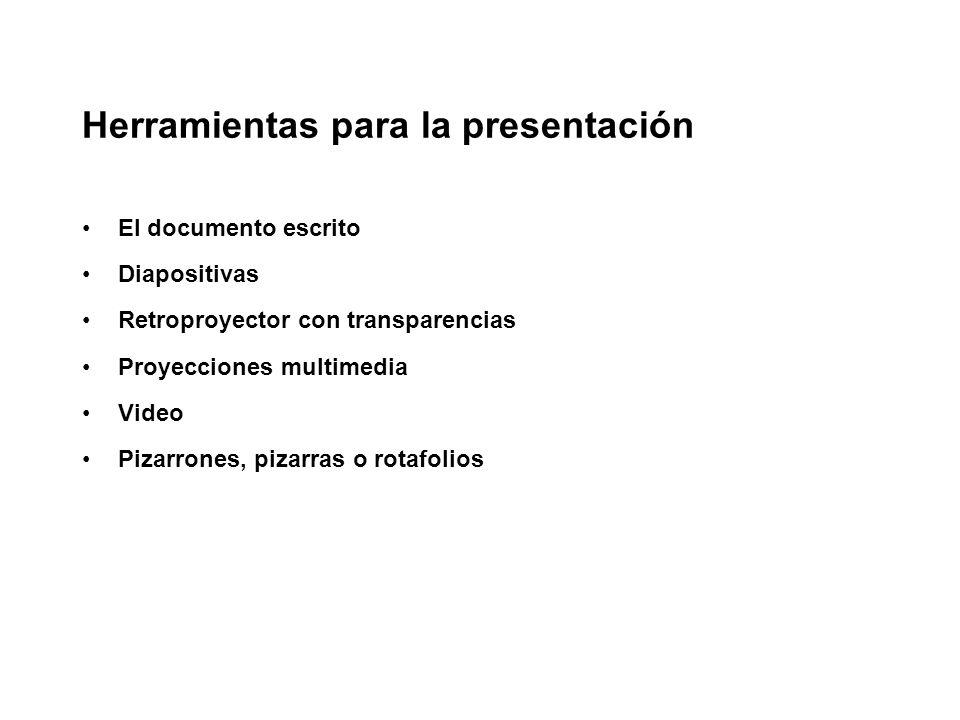 Herramientas para la presentación El documento escrito Diapositivas Retroproyector con transparencias Proyecciones multimedia Video Pizarrones, pizarr